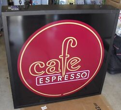 CAFE ESPRESSO BIG HUGE LIGHT SIGN BOX (((( 36' x 38' ))) DUAL SIDE