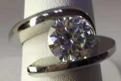 Steven Kretchmer Platinum Wing-L  Ring For 2.50ct Round CZ Shiny Serial #1461