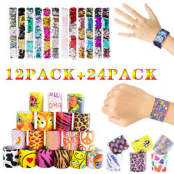 36 Pack Creative Slap Bracelet Snap Wristband Bangle Party Favors for Kids Gifts