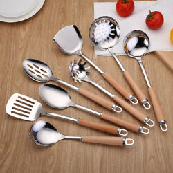 Wood Handle Kitchen Cooking Utensil Serving Tools Spatula Spoon Stainless Steel