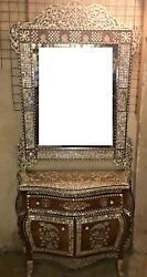 Antique Egyptian Wood Sideboard Inlaid Mother of Pearl + Wall Mirror Frame