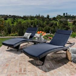 Outdoor Chaise Lounge Set Legs Fold Down Grey Wicker Navy Blue Cushion Seat