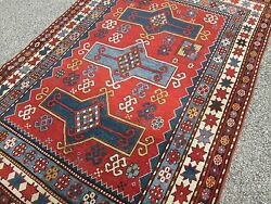 ANTIQUE CAUCASIAN KAZAK ORIENTAL TRIBAL RUG_ LARGE 5.5 x 8_SELLING UNDER COST