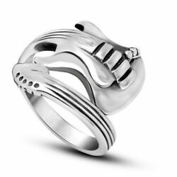 Men Women Guitar Ring Stainless Steel Punk Rock Party Ring Fashion Jewelry 6-12