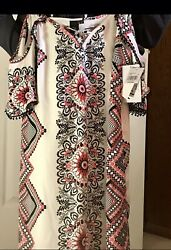 Macy's NWT Print Dress Open Shoulder Adorable Trendy Size Small $15.00