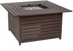 Fire Pit Table 45 in. Square Adjustable Flame Stainless Steel Burner Brown