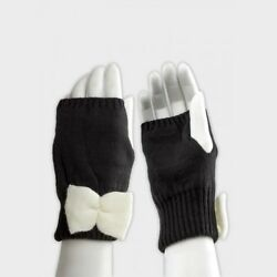Ladies ASOS Stylish Black Fingerless Palm Warmers With White Bow One Size GBP 6.99