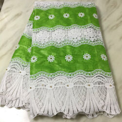 High quality milk silk fabric with beaded lace fabric african fabric in 5 yards