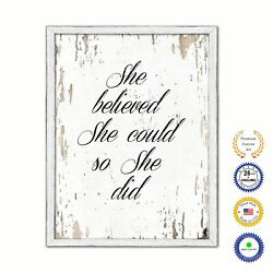 She Believed She Could So She Did Vintage Saying Gifts Home Decor Wall Art Canva