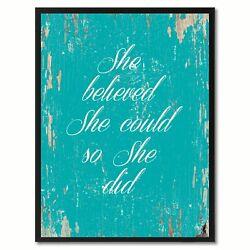 She Believed She Could So She Did Saying Canvas Print Black Picture Frame Home