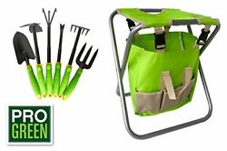Pro Green 6 Piece Garden Tool Set  Includes Folding Chair Attractive Canvass