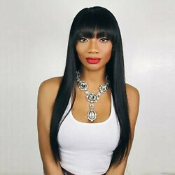 80cm Black Long Straight Synthetic Hair Cosplay Wig with Bangs Natural Looking