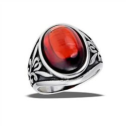 Stainless Steel Ring With 9 ct Oval Dark Red CZ Cabochon - Free Gift Packaging