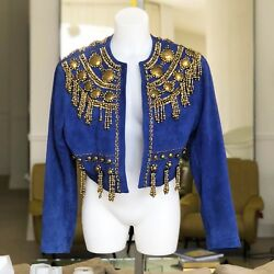 GIANNI VERSACE blue suede bolero with metal pieces and bead work from ss 1990