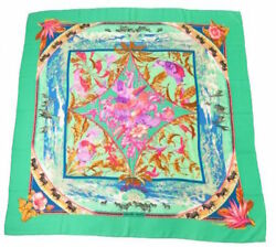 Hermes Carre 140 Shawl Stole Scarf TROPIQUES Emerald Green Animal Cashmere Silk