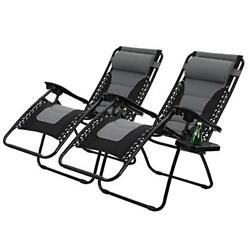 PHI VILLA Padded Zero Gravity Patio Lounge Chairs Adjustable Reclining with Cup