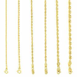 10K Yellow Gold Light 1.5mm 4mm Diamond Cut Rope Chain Pendant Necklace 14quot; 30quot; $106.99
