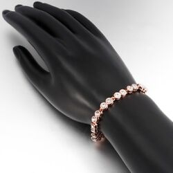 Cubic Zirconia Double Row Link Tennis Bracelet Women Rose Gold Plated Jewelry