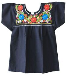 Mexican Peasant Blouse Hand Embroidered Top Colors Vintage Style Tunic Black $16.88