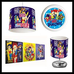 DC GIRLS SUPERHEROES 452 Girls Bedroom Lampshade Lamp Clock amp; Pictures GBP 26.99