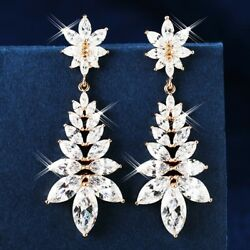 Thick 18K Rose White Gold Filled AAA Grade CZ Party Wedding Chandelier Earrings AU $37.99