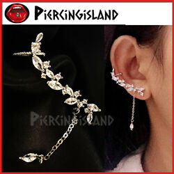 925 STERLING SILVER Statement MARQUISE LAB DIAMOND DROP STUD EARRING EAR CLIMBER