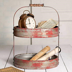 Colonial Tin Works Weathered RedGrey Two Tier Serving CaddyTray-Industrial x x