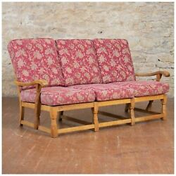 Derek Lizardman Slater Arts & Crafts Yorkshire School English Oak Sofa c. 1960