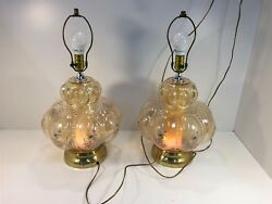 2 Vintage Lamps Lighted Top amp; Bottom Glass Floral Design $99.99