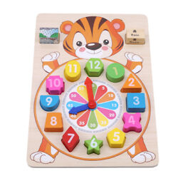 Kids Blocks Wooden Clock Puzzle Toys Animal Colorful Baby Educational Toy G $10.37