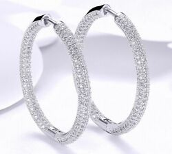 18K White Gold Hoop Earrings Made with SWAROVSKI crystals ITALY 1.3
