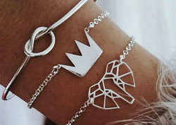 BEACH BOHO FESTIVAL SILVER ELEPHANT CROWN KNOT BRACELET SET OF 3 UK SELLER 019