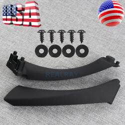 Right Side Black Inner+Outer Door Panel Handle Pull Trim Cover for BMW E90 328i