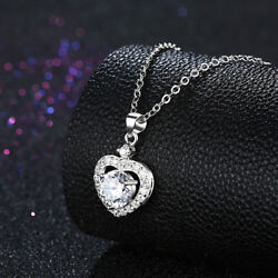 18K White Gold Plated Made with Swarovski Elements Crystal Love Heart Necklace