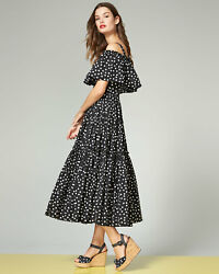Dolce & Gabbana Off-Shoulder Ruffled Polka Dot Dress ( Size 48- US 12)