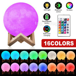 3D Printing Moon Lamp USB LED Night Light Moonlight Touch Color Changing 8-24CM