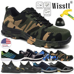 Mens Safety Shoes Non-Slip Steel Toe Work Boots Breathable Hiking Climbing