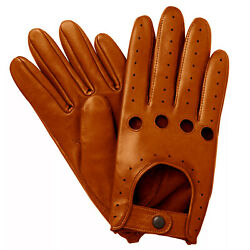 NEW MEN#x27;S CHAUFFEUR REAL LAMBSKIN SHEEP NAPPA LEATHER DRIVING GLOVES TAN $18.00