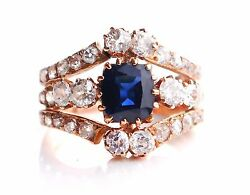 Antique Ring solid 14K Rose Gold 1.8ct Sapphire 2.32ct Diamonds Ø 6.75 US 4.8g