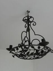 art deco Gothic Ceiling Light Candle Rustic French Forged hand old wrought Iron