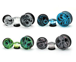 Pair of Glass Swirl Double Flare Plugs set gauges PICK YOUR SIZE AND COLOR $9.49