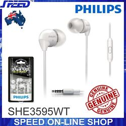 PHILIPS SHE3595WT Headphones Earphones with Mic - Extra Bass - WHITE - GENUINE