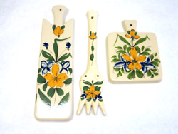 Floral Farm Kitchen Decor Wall Hangings Ceramic Flower Fork 3 Piece Set $15.29