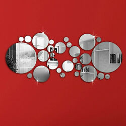 30X Removable 3D Mirror Wall Stickers Circle Decal Art Mural Home Room DIY Decor $6.97