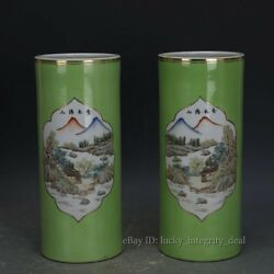 Pair of Antique China Old Green Glaze Famille Rose Porcelain Vases Hat tubes
