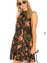 NWT Free People She Moves Printed Lace-Trim Slip Dress  Size L