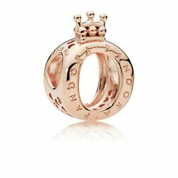 Authentic Pandora Sterling Silver Crown O Rose Gold Bead Pendant Charm 787401