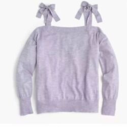 J. Crew Sweater XS 100% Merino Wool Cold Shoulder Bow Tie Healther Lilac