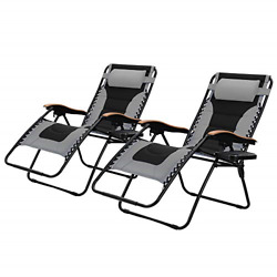 PHI VILLA Oversize XL Padded Zero Gravity Lounge Chairs Adjustable Recliner with