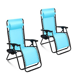 Ollieroo 2-Pack Blue Zero Gravity Lounge Chair with Pillow and Utility Tray